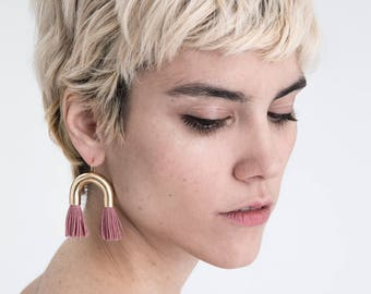 NEW Tassel Statement Earrings / short pink fringe / gold tube arch / fun party jewelry