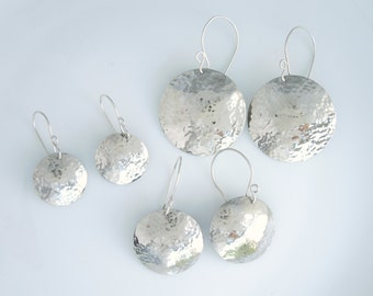 Hammered Silver Circle Dangle Earrings - Sterling Silver Earring Wires - Handmade
