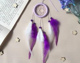Woven Small Purple Dream Catcher, Modern dreamcatcher, Wall Hanging dreamcatcher, Wall decor, Boho farmhouse, Nursery Decor