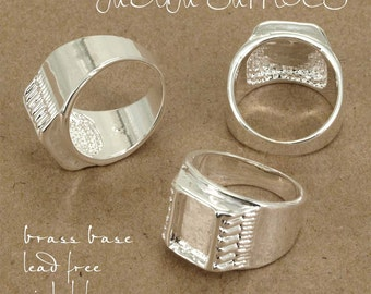 4pcs Brass base Adjustable silver tone Blank RING