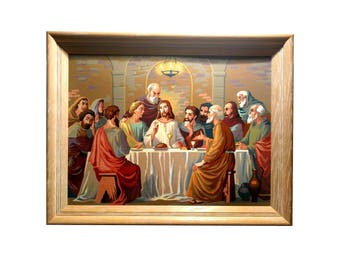 Large LAST SUPPER Painting, Framed Acrylic Paint By Number