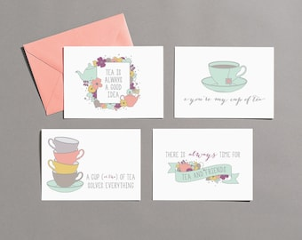 Friendship / Tea Time / Tea / Greeting Card Variety Pack / Boxed Set (Blank)