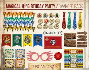 Harry Potter Party Inspired ADVANCED PACK Collection Printable | Instant Download | Hogwarts Houses Party set | Harry Potter Birthday