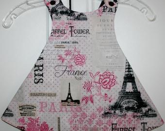 12 months, White, Black and Pink Paris Reversible Sundress with Black/Tiara.