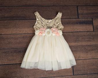 Rose Flower Girl Dress, Gold sequin dress, Cream Tulle, Gold Ivory Cream Wedding, Sash Belt set, Gold glitter dress, Ivory tutu dress