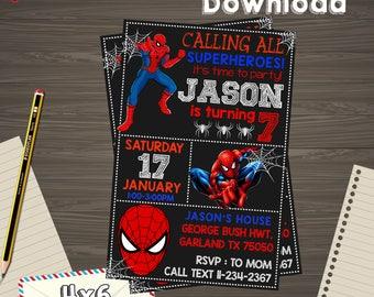 Spiderman invitation etsy popular items for spiderman invitation stopboris Gallery