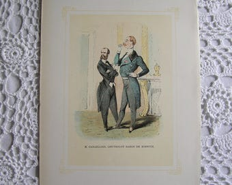Vintage Print of M. Canaillard, Lieutenant Baron de Bobwitz, Mrs. Perkin's Ball, William Makepeace Thackeray, Art Illustration Gift for Him