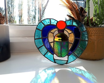 Scarab Beetle suncatcher stained glass Egyptian bug Sun God deity amulet rebirth Khepri heart luck, mourning, memorial insect hieroglyphics