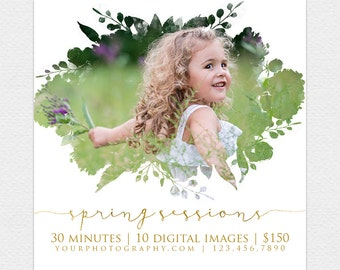 SALE DIY Spring Mini Session Template, spring, Instant Download, Photographer Marketing, Photoshop, Facebook, PSD, Mini Session, floral