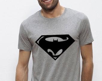 Grey T-shirt BATMAN / SUPERMAN men - 100% hand made