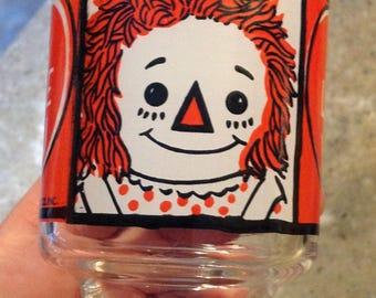 Vintage Raggedy Ann Andy Doll Glass Tumbler 1972  I Love You
