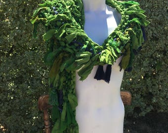 sale Lime green Recycled silk hand knitted boho tattered rag scarf