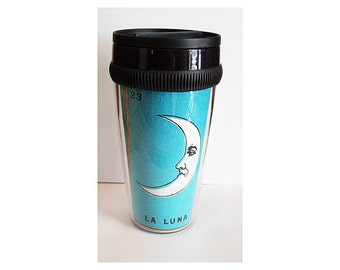 Loteria travel mug retro vintage Mexico pop culture Spanish coffee cup kitsch