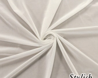 Off White Nylon Power Mesh Fabric by the Yard, Soft Sheer Drape Mesh Fabric, Stretch Mesh Fabric, Performance Mesh Fabric  Style 454