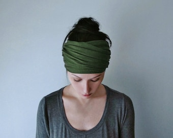 DESERT GREEN Head Scarf, Avocado Green Head Wrap, Extra Wide Headband, Boho Headband, Green Headband, Turban Headbands for Women Teen Girls