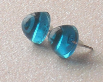 Vintage Translucent Cerulean Blue Stud Earrings