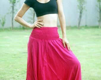 Harem Pants Thai Pants, Rayon Pants, Boho Strenchy Pants, Elastic Waist Clothing Beach Women Baggy Casual Pink TP11509