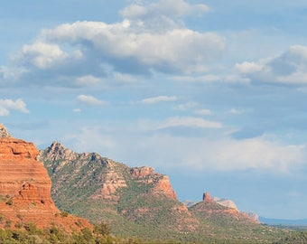 8x24 large art print - SEDONA Panoramic - Landscape (Color, B/W) -- Red Rock, mountains, cloudscape - terracotta, sky blue, green -  OKeefe