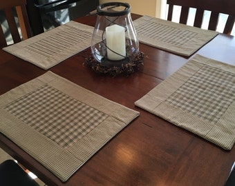 Set of 6 - Country green and Tan Plaid Placemats