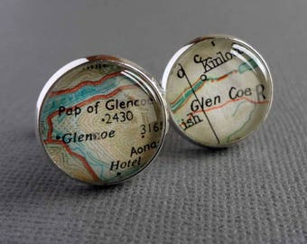 Silver Map Cufflinks for Tom - Laide and New Marton