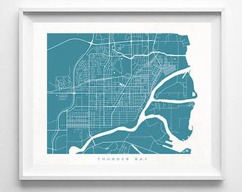Thunder Bay Map, Canada, Print, Thunder Bay Poster, Canada, Art, Office Decor, Nursery Poster, Modern Decor, Home Decor, Mothers Day Gift