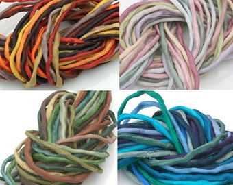 10 ea Silk strings/Cords for Jewelry Making 2mm Silk Strings Hand Dyed