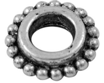 Tibetan 8mm spacer beads, 4mm hole, antique silver & antique gold, 25 pieces