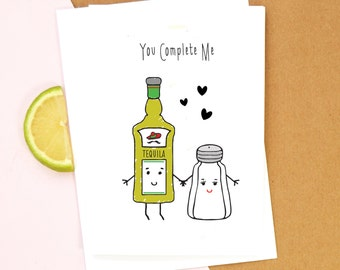 Tequila Card, Birthday Card, Funny Card, Tequila, Anniversary Card, Boyfriend Card, Girlfriend Card, Valentines Day Card, Love, Illustration