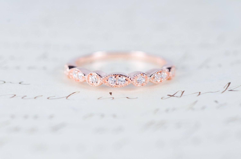 Rose Gold Wedding Band Art Deco Ring Stacking Ring