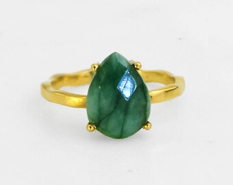 May Birthstone Ring Gemstone Ring Stacking Ring May Stone Gold Ring Tear Drop Ring Prong Set Ring Green Emerald Raw Emerald Ring