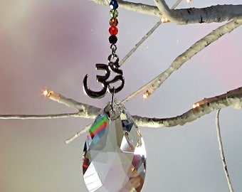 Chakra Crystal Om Sun Catcher & Christmas Ornament, 1S-9