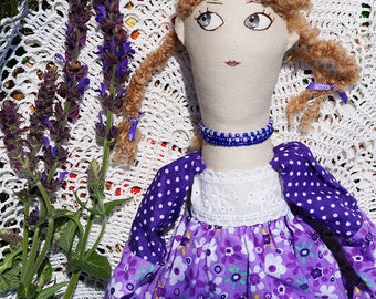 textile doll, rag doll, lady in dress, doll hand-made doll made of cloth