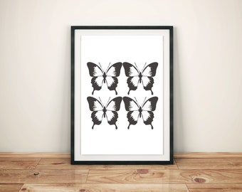 Black and White Butterfly DIY Downloadable Art Print Poster