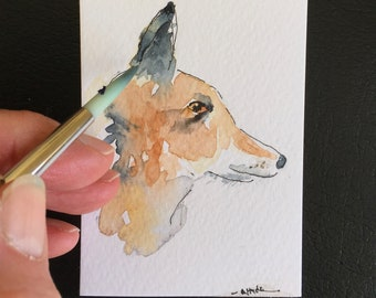 Fox ORIGINAL Miniature Watercolour, Wildlife painting, Red fox,fox art, ACEO Watercolor  For him For her Home Decor Wall Art Gift Idea