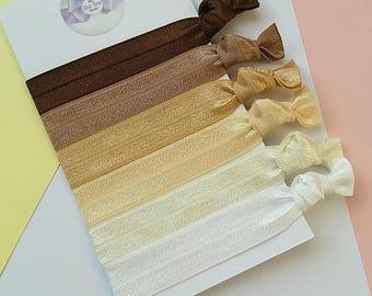 Hair ties, nude, beige, brown, caramel, cream,pack of 6, easter gift, yoga ties,snag free, ponytail holders,fold over elastic,Uk seller