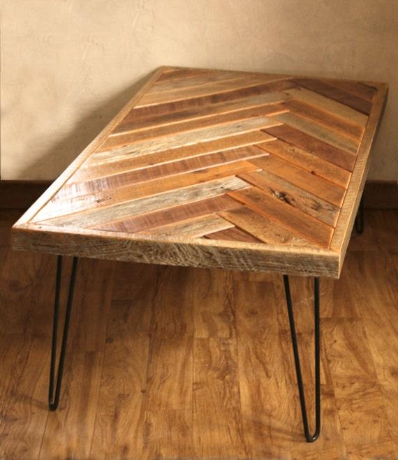 Barn wood coffee table Herringbone table Hairpin legs