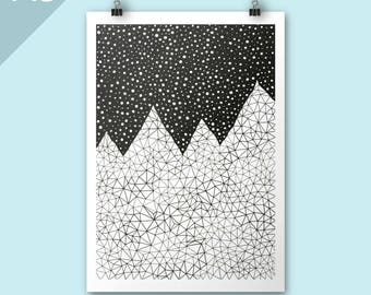 Mountain print / Day and Night / A3 illustration print / Art print / Illustration / Contemporary art / graphic art