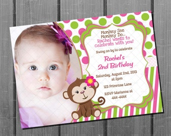 Pink and Green Girl Monkey Birthday Invitation and FREE Thank You Card Printables