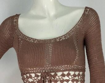 Tan crochet top/vintage crochet top/crochet bell sleeves/boho crochet top