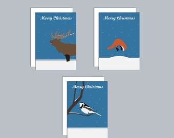 Set of 3 A6 Christmas cards inspired by British wildlife