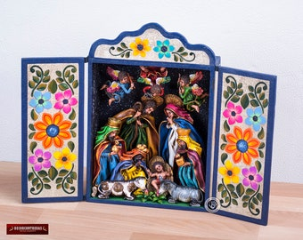 "Wood Retablo Diorama ""Christmas Celebration"" from Peru - Handpainted Sculpture - Collectible Wood Diorama - Ceramic Folk Art - Peruvian Art"