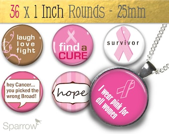 Breast Cancer Pink Ribbon Survivor - One (1x1) Inch (25mm) Round Pendant Images - Digital Download - Buy 2 Get 2 Free - Instant Download