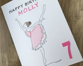Ballerina card, ballet birthday card, personalised ballerina birthday card, dancer birthday, dance age card, personalized card,