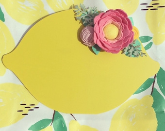 Lemon Chalkboard Home Summer Decor Handmade Felt Flowers Summertime Lemonade