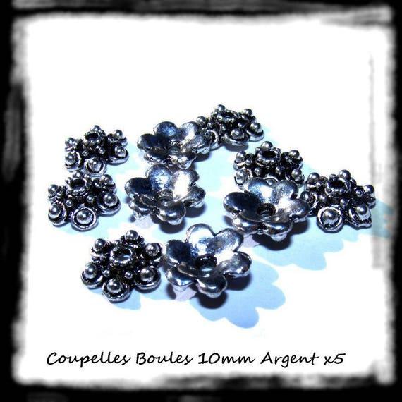 [Balls] caps 10mm silver bead caps findings x 5