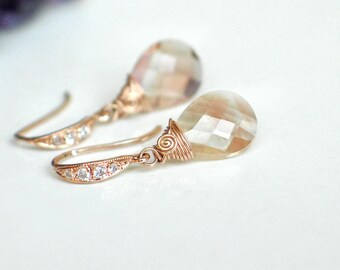 Oregon Sunstone Earrings   Peach Pink Champagne Schiller Pear Briolettes    CZ Pavé Rose Gold Vermeil   Small Earrings   Gift Ready to Ship