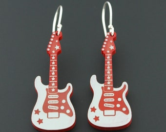Rockin' Electric Guitar Sterling Silver Earrings by Supertash