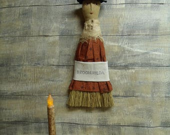 Primitive Witch Broom/hanger/ doll/Halloween/hearth hanger/whisk broom/broomhilda/witch/hat