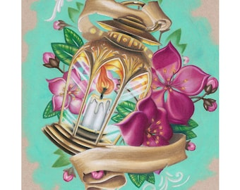 "Lantern with flowers 11X14"" Giclee print"