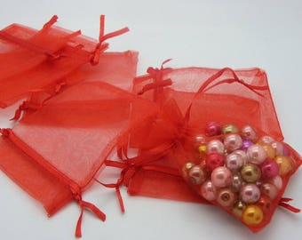 30 bags organza red 9 mm x 7 mm transparent red